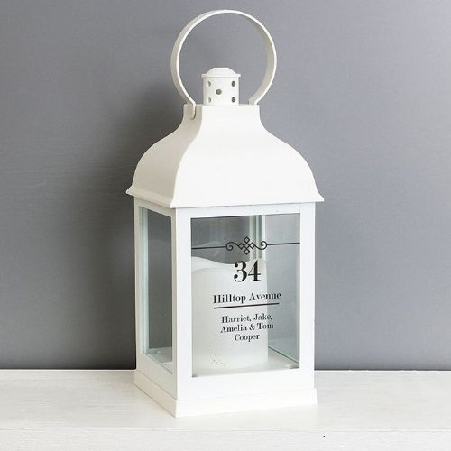 Personalised Elegant Diamond White Lantern